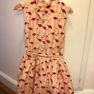 Pink flamingo print dress with bow detail